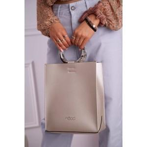 Štýlová strieborná shopper kabelka s okrúhlou rúčkou