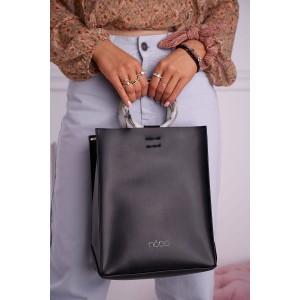 Shopper kabelka čierna NOBO s pruhom na plece