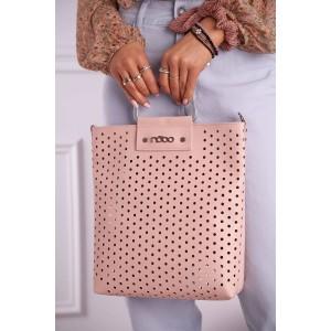 Módna dámska ružová shopper kabelka s odnímateľným pruhom