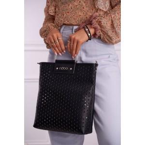 Štýlová čierna dámska kabelka NOBO s dierovaným designom