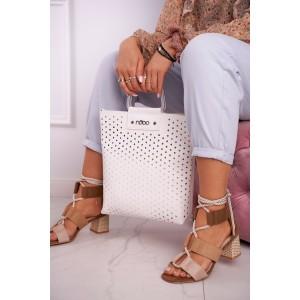 Letná dámske biela shopper kabelka s odnímateľným popruhom