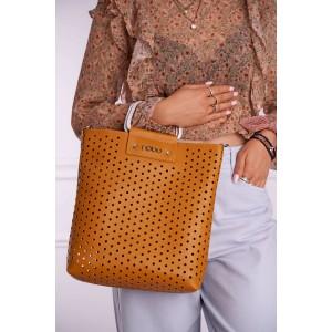 Oranžová dámska shopper kabelka s dierkovaným designom