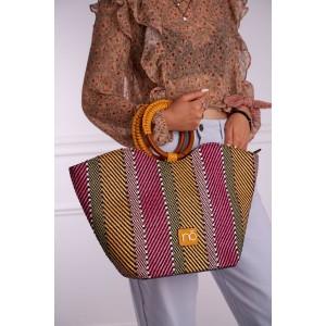 Krásna farebná plátená shopper kabelka s ozdobnou rúčkou