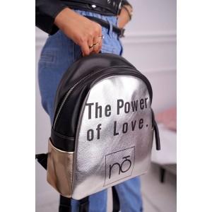 Moderný dámsky strieborný ruksak s nápisom POWER OF LOVE