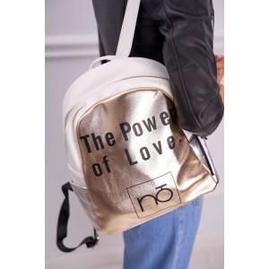 Bielo zlatý metalický dámsky ruksak s trendy nápisom lásky