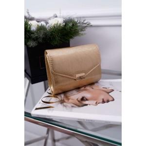Dámska zlatá lakovaná listová kabelka s jemným vtláčaným vzorom