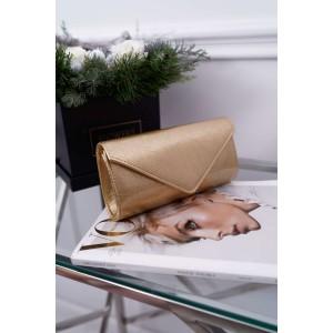 Lakovaná zlatá dámska listová kabelka do spoločnosti