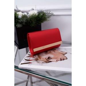 Krásna karmínovo červená listová kabelka so zlatým kovaním