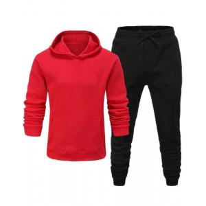 Trendy pánska tepláková červená súprava s jogger teplákmi