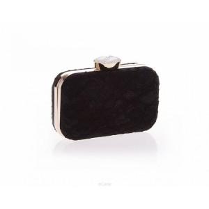 Módna čierna dámska kabelka s čipkou a veľkým kryštáľom