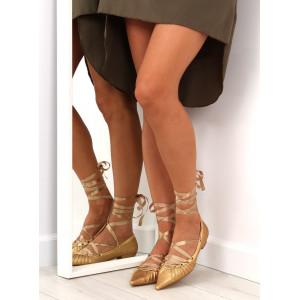 Bronzové dámske baleríny s ostrou špičkou a viazaním