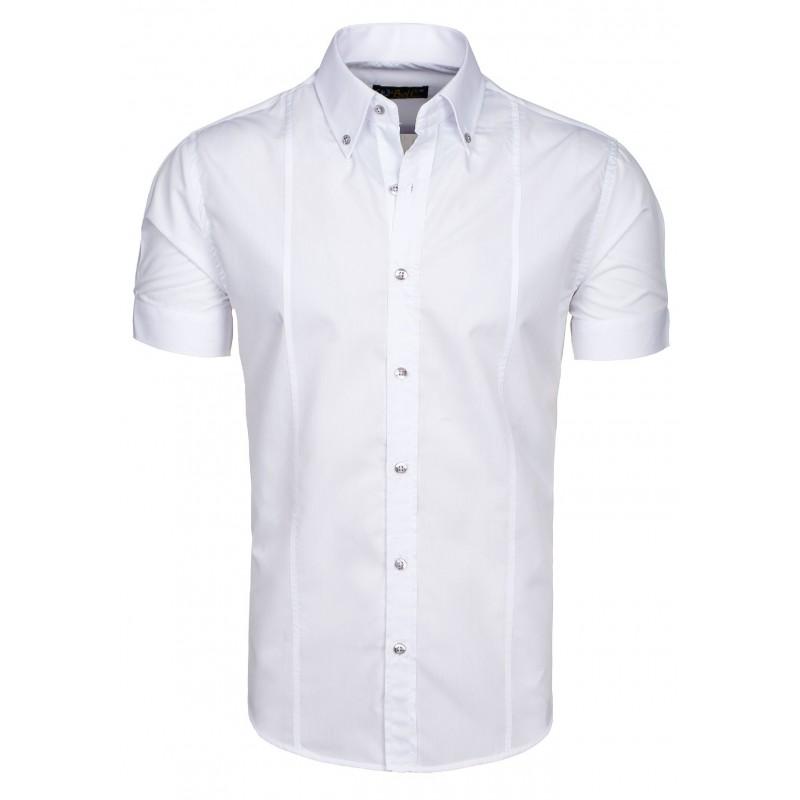 6d55e16abf22 Elegantná pánska biela košeľa s krátkym rukávom - fashionday.eu