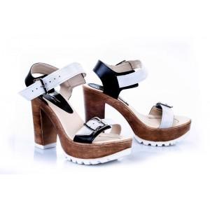 Dámske pohodlné kožené sandále bielo-čiernej farby