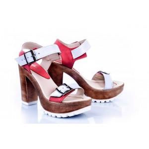 Kožené dámske sandále v bielo-červenej farbe