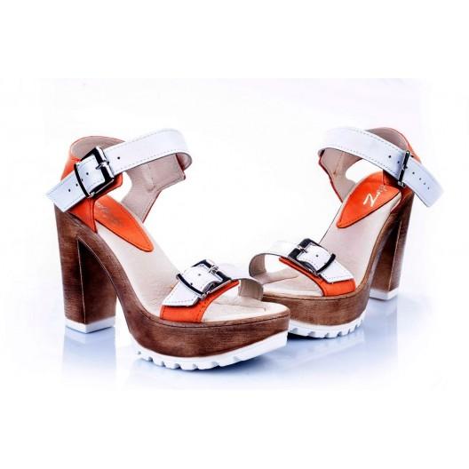 Dámske kožené sandále bielo-oranžovej farby