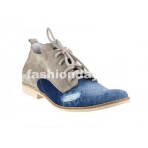 Pánske kožené topánky modro-béžové