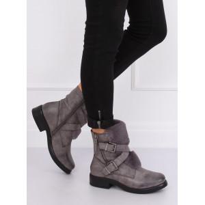 Dámske členkové čižmy s vysokým zvrškom sivej farby