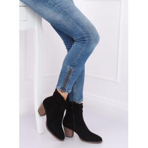 Semišové kotníkové topánky čiernej farby