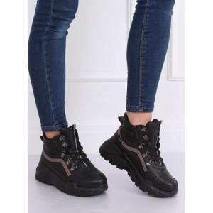 Čierna dámska športová obuv na vysokej platforme