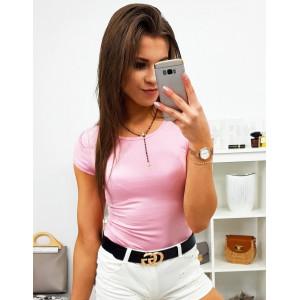 Dámske jednofarebné ružové tričko s krátkym rukávom