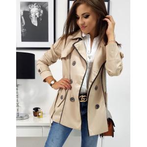 Štýlový pánsky béžový kabát so zapínaním na gombíky