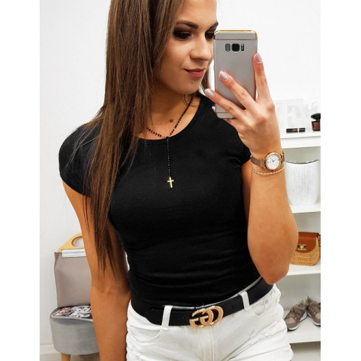 Jednofarebné dámske čierne tričko s krátkym rukávom
