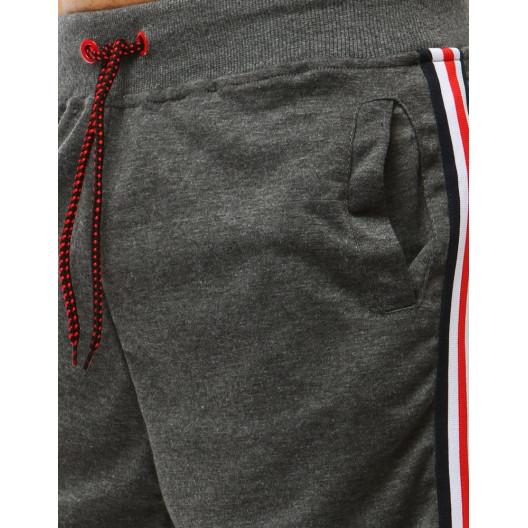Krátke sivé pánske kraťasy s ozdobnými bočnými pásmi