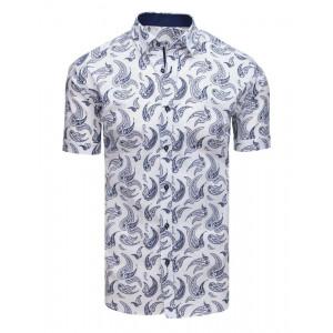 Štýlová pánska vzorovaná biela košeľa s krátkym rukávom