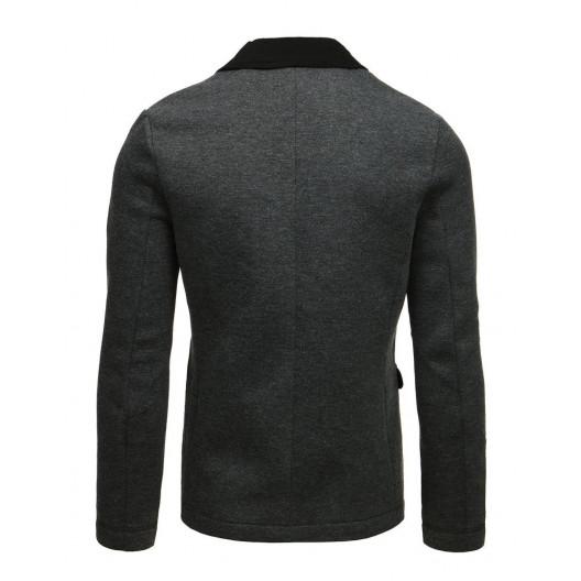 Štýlové pánske sivé ležérne sako s módnym prepracovaním