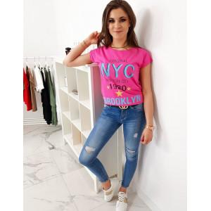 Neónovo ružové dámske trićko s nápisom NEW YORK