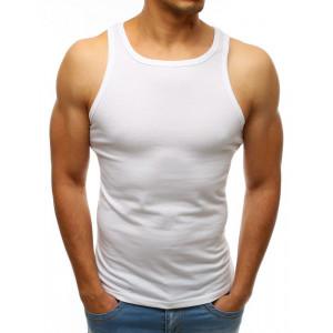 Biele pánske bavlnené tričko bez rukávov