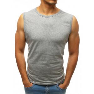 Módne pánske tričko bez rukávov v sivej farbe