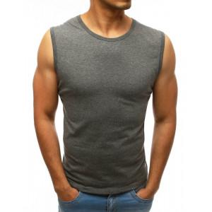 Pohodlné pánske tričko bez rukávov v sivej farbe