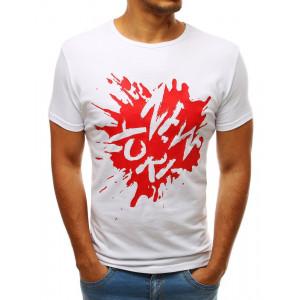 Biele pánske tričko s červenou potlačou