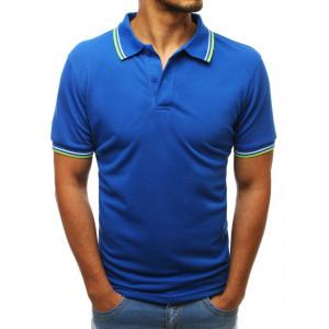 Štýlové pánske tričko s golierom v modrej farbe