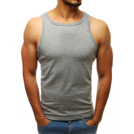 Sivé pánske jednofarebné tričko bez rukávov