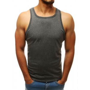 Pánske tričko bez rukávov tmavo sivej farby