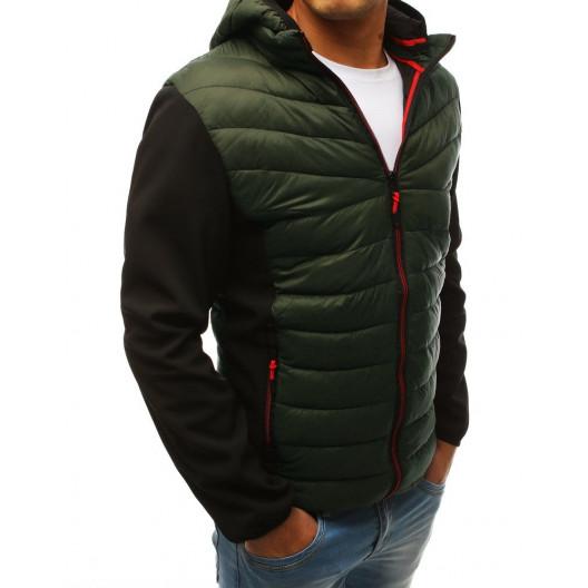 Moderná pánska zelená prechodná bunda s kapucňou