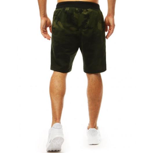 Komfortné pánske zelené kraťasy v army vzore