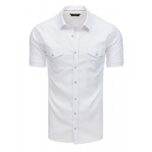Štýlová pánska biela letná košeľa s náprsnými vreckami