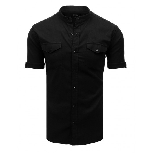 Moderná pánska čierna košeľa s krátkym rukávom