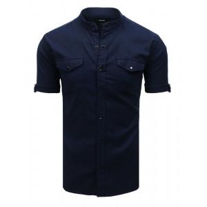 Špotová pánska modrá košeľa so stand up golierom