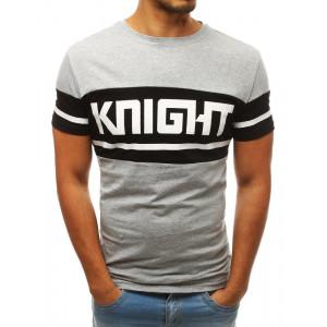 Letné pánske bavlnené tričko s nápisom KNIGHT sivej farby