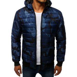 Originálna pánska modrá bunda s kapucňou v army vzore