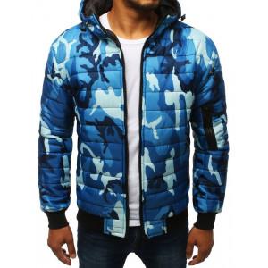 Pánska modrá prešívaná bunda s kapucňou v army vzore