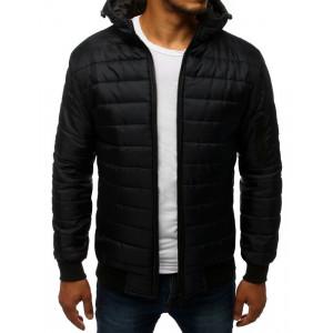 Čierna pánska prešívaná bunda na zips s kapucňou