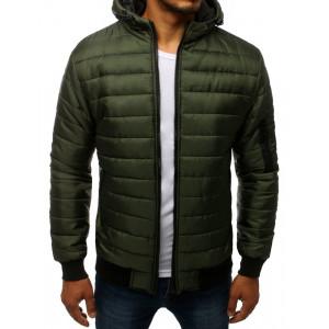 Štýlová pánska zelená prechodná bunda s kapucňou