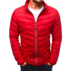 Červená pánska prechodná bunda na zips bez kapucne