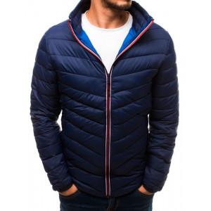 Tmavo modrá pánska prešívaná bunda bez kapucne s vreckami