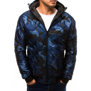 Originálna pánska modrá maskáčová bunda s kapucňou